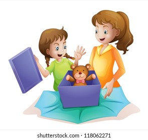 illustration of mom and kid
