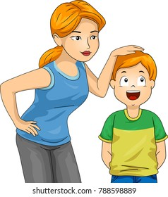 Illustration of a Mom Measuring the Current Height of Her Son