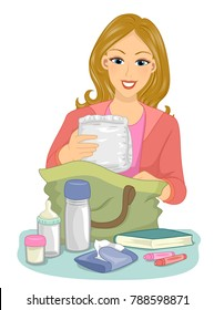 Illustration of a Mom Packing Things Her Baby Needs When Going Out from Diaper, Milk, Bottle and Tissue