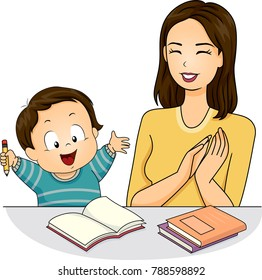 Illustration of a Mom Praising Her Son After Finishing His Homework