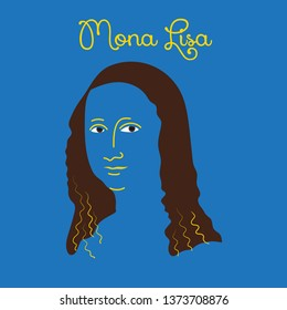 Illustration of the Mona Lisa. The artist Leonardo Davinci.