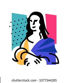 Illustration of the Mona Lisa. Icon of Gioconda, the artist Leonardo Davinci. Logo of a famous work, interpretation. Vector flat illustration. Logo for beauty salon, studio. Abstract image.