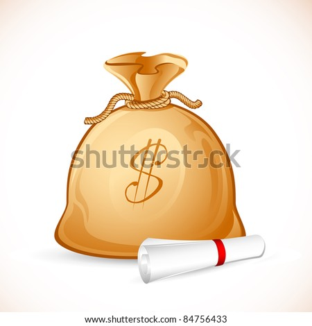 illustration of money bag with scroll agreement paper