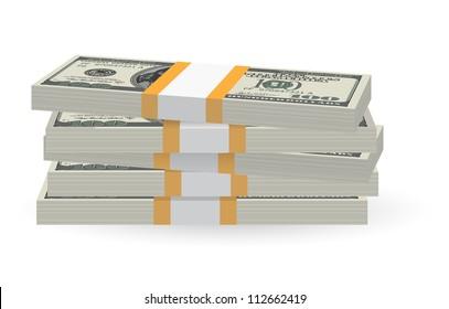 Illustration of money banknotes stack over white background