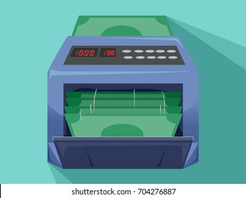 Illustration of a Money Counting Machine currently Counting Cash