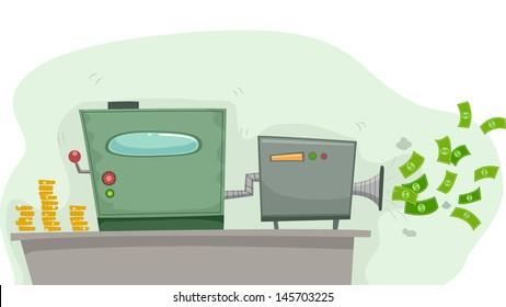 Illustration of a Money Making Machine Producing Dollars