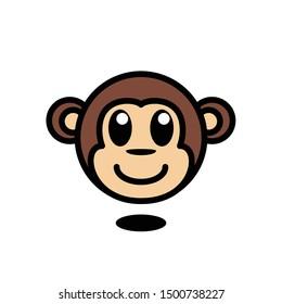 illustration of monkey head - cartoon animal - monkey vector - Vector