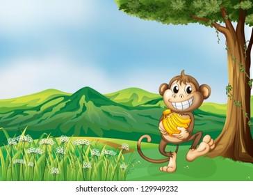 Illustration of a monkey holding a banana