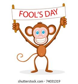 illustration of monkey holding fool's day banner