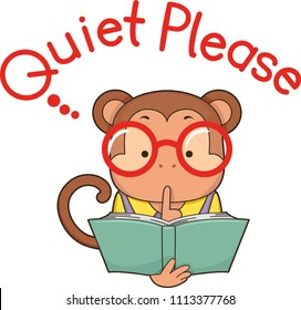 Illustration of a Monkey Holding an Open Book with Finger on Lips Signaling Quiet