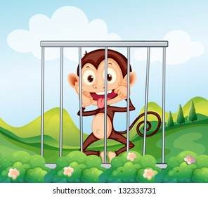 Illustration of a monkey inside the cage