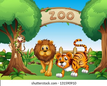 Illustration of a monkey, a lion and a tiger inside the wooden fence