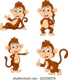 illustration of monkey many expressions