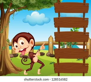 Illustration of a monkey pointing at the empty signboard