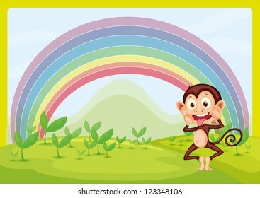 Illustration of monkey and rainbow in green nature