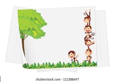 Illustration of monkeys on a piece of paper