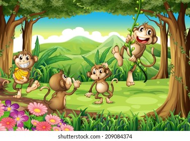 Illustration of monkeys playing in the forest