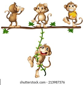 Cartoon Swinging Monkey Images Stock Photos Vectors