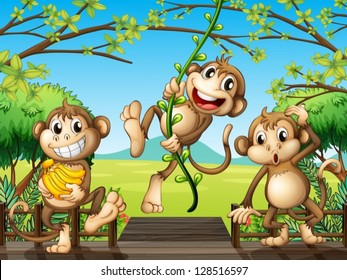 Illustration of monkeys at the wooden bridge