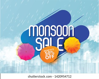 illustration of monsoon sale abstract or poster for Monsoon  Offer or Sale with creative design