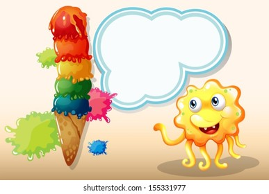 Illustration of a monster staring at the giant icecream