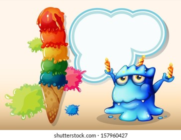 Illustration of a monster with three candles standing near the giant icecream