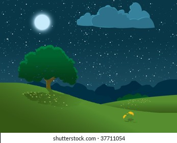 An illustration of a moon lit tree on a hill against a starry night sky, and the silhouette of a mountain range in the distance.