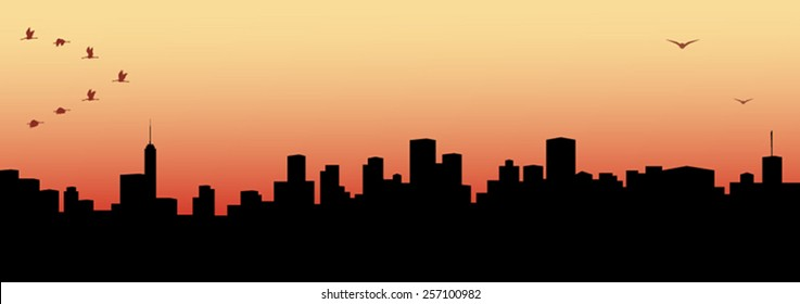 Illustration of a morning and evening view of cityscape
