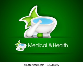 Illustration of mortar and pestle with green leaves. EPS 10. can be use as label, sticker or tag.