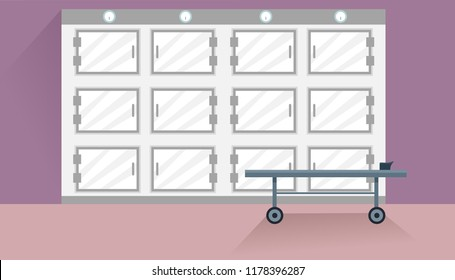 Illustration of a Mortuary or Morgue with Cabinets and Stretcher