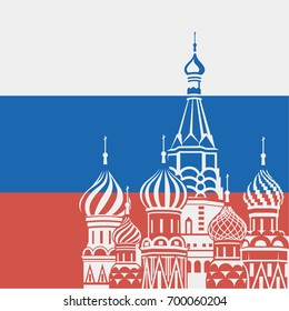 illustration of Moscow Saint Basil Cathedral on background Russian flag