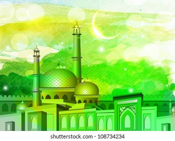 Illustration of Mosque or Masjid on colorful grungy background. EPS 10.