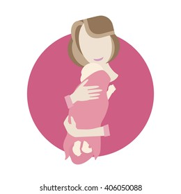 Illustration of mother and baby. Young mother hugging her baby. Mother and daughter. Vector flat design. Newborn baby mother. Newborn baby girl