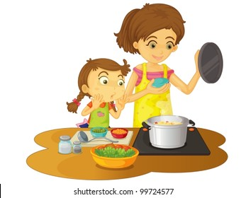 Illustration of mother cooking with daughter