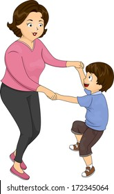 Illustration of a Mother Dancing with Her Son