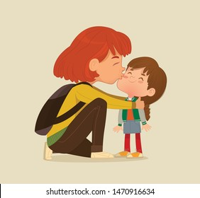 Illustration of a Mother Gives a Goodbye Kiss to her daughter. Mum Gives Kiss to the child at the school door. Preschool girl say hello to mom at Montessori school. Vector illustration. Isolated.