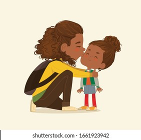 Illustration of a Mother Gives a Goodbye Kiss to her daughter. African American Mum Gives Kiss to the child at the school door. Preschool girl say hello to mom at Montessori school. Vector