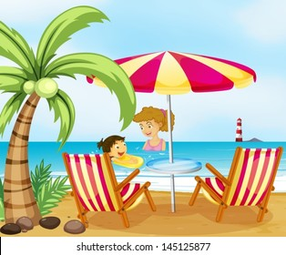 Illustration of a mother and her child at the beach