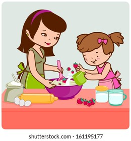 Illustration of a mother and her little daughter helping her bake a cake in the kitchen.