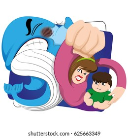 Illustration of a mother protecting her child against the risk of the blue whale. Ideal for educational materials and warning, prevention