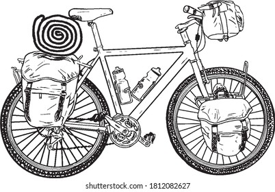 Illustration of mountain bike, vector drawing in black and white, isolated on white background.