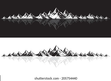 Illustration of a mountain range with reflection by day and night