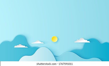 Illustration of mountain scenery with cloud in aerial view. Mountain and cloudy scenery on paper art style. paper cut and craft style. vector, illustration.