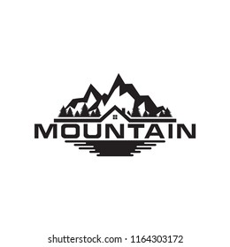 Illustration of mountain, trees, house and field logo design