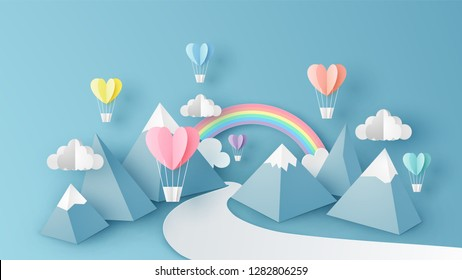 Illustration of mountain view scenery with heart shape hot air balloons float up in the sky on 3D paper art. Landscape view scene for Valentine's day. paper cut and craft style. vector, illustration.