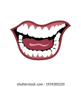 illustration of mouth laughing with red lips