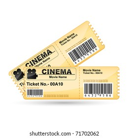 illustration of movie ticket on isolated white background