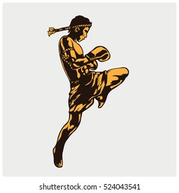 Illustration of a Muay Thai Fighter Kicking.