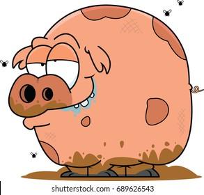 Illustration of a muddy pig.