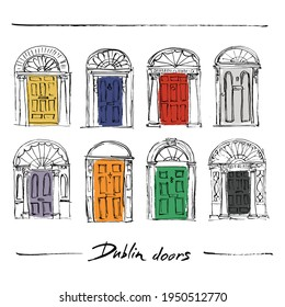 Illustration of multi-colored doors in Dublin.